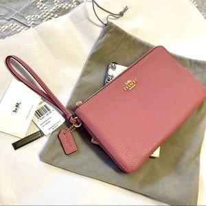 Coach Double Zip Wallet Wristlet Clutch 87587 Rose